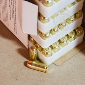 A photo of a box of Blazer Brass ammo in .40 Smith & Wesson.