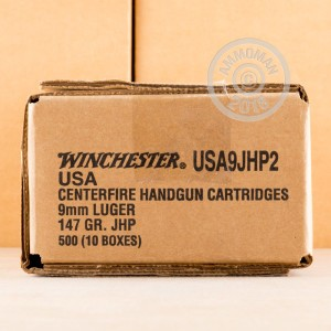 Image of Winchester 9mm Luger pistol ammunition.