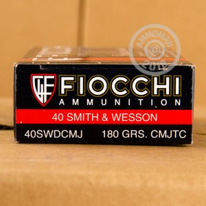 A photograph detailing the .40 Smith & Wesson ammo with TMJ bullets made by Fiocchi.