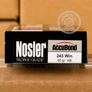 A photo of a box of Nosler Ammunition ammo in 243 Winchester.