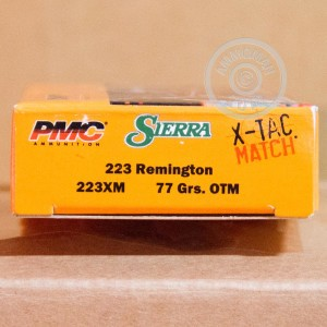 A photograph of 800 rounds of 77 grain 223 Remington ammo with a Open Tip Match bullet for sale.