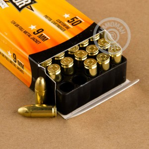 An image of 9mm Luger ammo made by Armscor at AmmoMan.com.