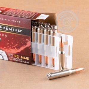A photograph of 20 rounds of 150 grain 308 / 7.62x51 ammo with a Nosler Partition bullet for sale.