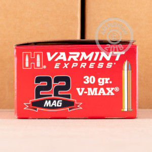 rounds of .22 WMR ammo with V-MAX bullets made by Hornady.