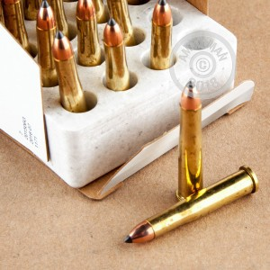 A photograph detailing the 22 Hornet ammo with Polymer Tipped bullets made by Winchester.