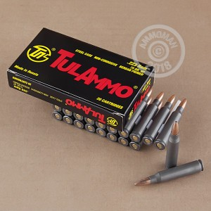 A photograph of 500 rounds of 75 grain 223 Remington ammo with a HP bullet for sale.