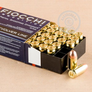 A photograph detailing the .45 Automatic ammo with FMJ bullets made by Fiocchi.