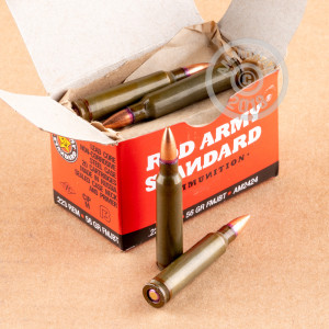 Image of Red Army Standard 223 Remington rifle ammunition.