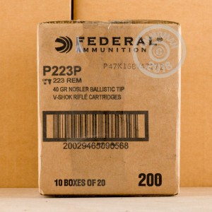 Image of 223 Remington ammo by Federal that's ideal for hunting varmint sized game.