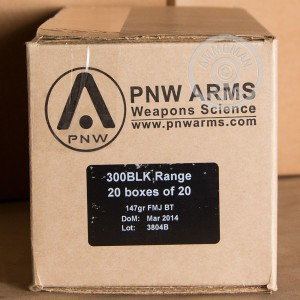 A photograph of 20 rounds of 147 grain 300 AAC Blackout ammo with a FMJ-BT bullet for sale.