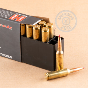 A photograph detailing the 6.5 PRC ammo with ELD-X bullets made by Hornady.