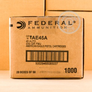 A photo of a box of Federal ammo in .45 Automatic.