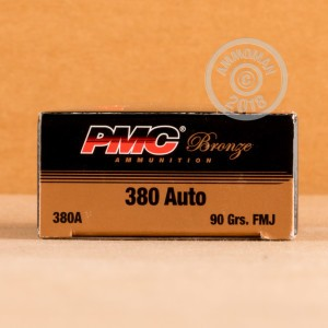 Image of .380 Auto ammo by PMC that's ideal for training at the range.