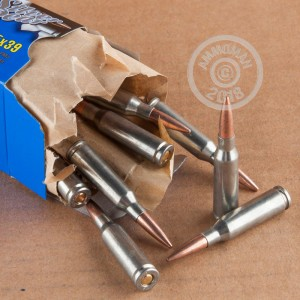 Image detailing the zinc plated steel case and berdan primers on 30 rounds of Silver Bear ammunition.