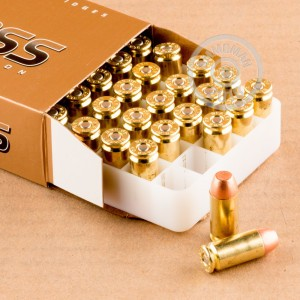 Image detailing the brass case and boxer primers on the Blazer Brass ammunition.