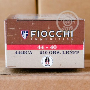 Photo of 44-40 WCF Lead Round Nose (LRN) ammo by Fiocchi for sale.