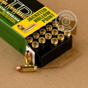 Image detailing the brass case and boxer primers on the Remington ammunition.