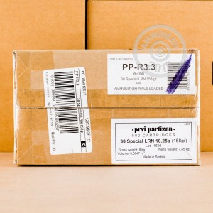 Photo of 38 Special Lead Round Nose (LRN) ammo by Prvi Partizan for sale at AmmoMan.com.