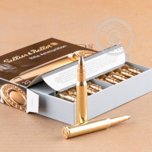 A photograph of 20 rounds of 180 grain 30.06 Springfield ammo with a Soft-Point Cutting Edge(SPCE) bullet for sale.