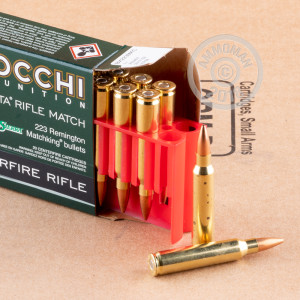 Photo of 223 Remington Hollow-Point Boat Tail (HP-BT) ammo by Fiocchi for sale.