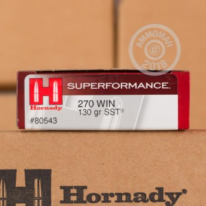 A photograph detailing the 270 Winchester ammo with SST bullets made by Hornady.