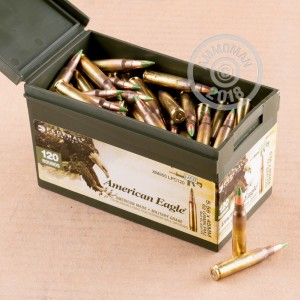 Image of bulk 5.56x45mm rifle ammunition at AmmoMan.com that's perfect for training at the range.
