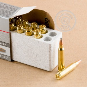 A photograph detailing the 223 Remington ammo with Jacketed Soft-Point (JSP) bullets made by Winchester.
