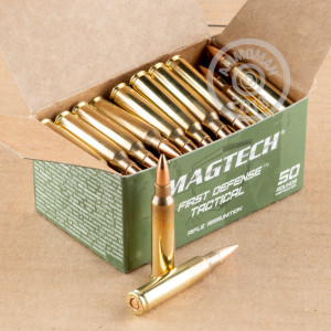 A photograph detailing the 5.56x45mm ammo with FMJ bullets made by Magtech.