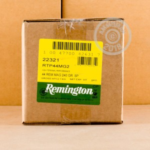 A photograph of 500 rounds of 240 grain 44 Remington Magnum ammo with a soft point bullet for sale.