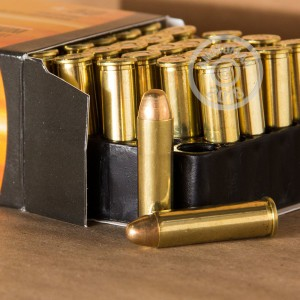 A photograph detailing the 357 Magnum ammo with FMJ bullets made by Armscor.