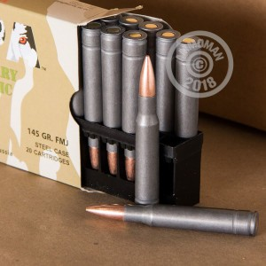 A photograph detailing the 30.06 Springfield ammo with FMJ bullets made by Wolf.