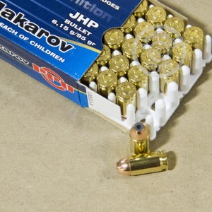 A photograph detailing the 9x18 Makarov ammo with JHP bullets made by Prvi Partizan.