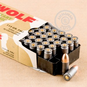 Image of Wolf 9mm Luger pistol ammunition.