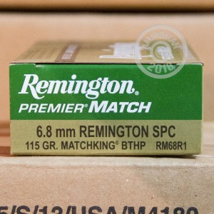 A photo of a box of Remington ammo in 6.8 SPC.
