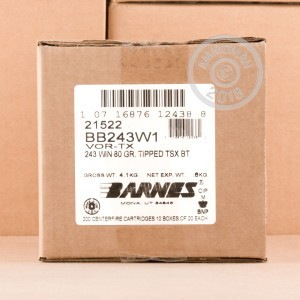 Image of Barnes 243 Winchester rifle ammunition.