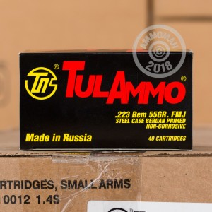 Image of 223 Remington ammo by Tula Cartridge Works that's ideal for training at the range.