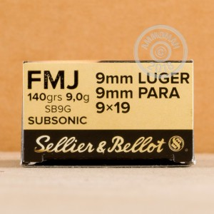 Photo of 9mm Luger FMJ ammo by Sellier & Bellot for sale at AmmoMan.com.