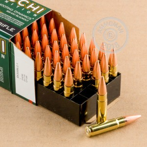 A photograph detailing the 300 AAC Blackout ammo with FMJ-BT bullets made by Fiocchi.