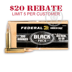 An image of bulk 223 Remington ammo made by Federal at AmmoMan.com.