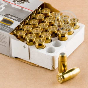 A photograph of 50 rounds of 185 grain .45 Automatic ammo with a brass enclosed base bullet for sale.