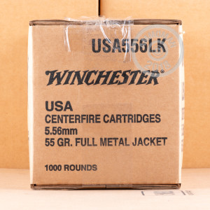 A photo of a box of Winchester ammo in 5.56x45mm.