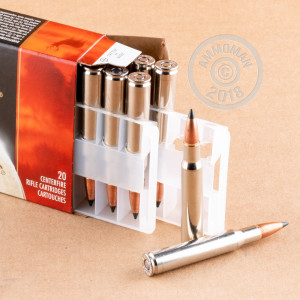 Image of 30.06 Springfield ammo by Federal that's ideal for big game hunting, hunting wild pigs, whitetail hunting.