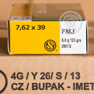 Photo of 7.62 x 39 FMJ ammo by Sellier & Bellot for sale.