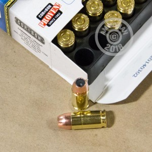 A photograph detailing the 9mm Luger ammo with JHP bullets made by Corbon.