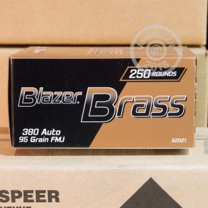 An image of .380 Auto ammo made by Blazer Brass at AmmoMan.com.