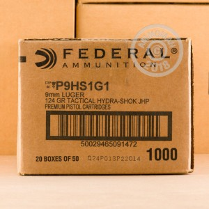 Image of Federal 9mm Luger pistol ammunition.