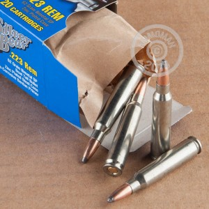 A photograph detailing the 223 Remington ammo with soft point bullets made by Silver Bear.