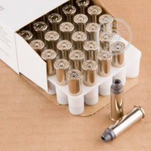 A photograph of 50 rounds of 158 grain 38 Special ammo with a Lead Semi-Wadcutter Hollow Point(LSWCHP) bullet for sale.