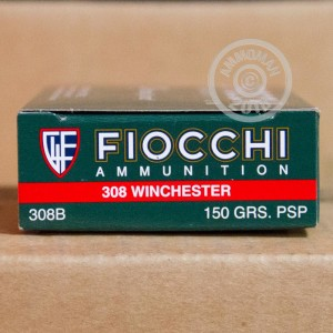 Image of 308 / 7.62x51 ammo by Fiocchi that's ideal for whitetail hunting.