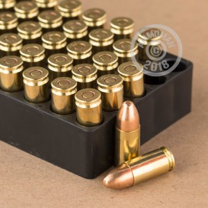 A photograph of 450 rounds of 115 grain 9mm Luger ammo with a FMJ bullet for sale.